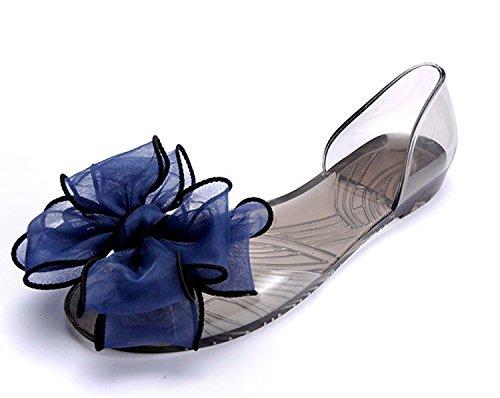 mineroad Womens Ladies estate traspirante scarpe da spiaggia in cristallo fiocco piatto casual sandali scarpe, Blu, EU 3