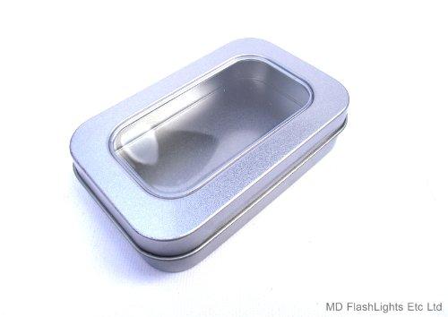 MD FlashLights Etc Ltd - 1 mini-vaschetta vuota, in argento, per conservare il tabacco; con finestrella; prodotti per la sopravvivenza
