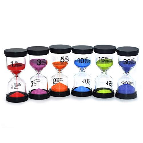 Sanduhren-Set, Zeitmesser / Timer für Kinder, Sanduhren, Glas, für Kinder, 1 Set mit 1min, 3min,...