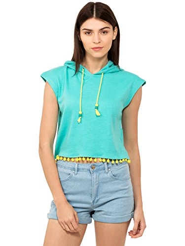 Chumbak Pompom Trim Turquoise Drop Shoulder Hooded Crop T-shirt - M