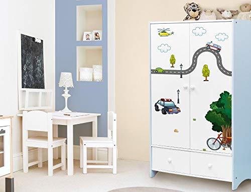 Wandtattoo Kinderzimmer Möbelsticker Set Stadt zum Kleben Möbelaufkleber