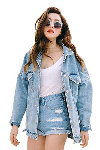 newest d8449 1dd8e Giacca Jeans Donna Corta Vintage Steampunk Giubbotto Denim Oversize Moda  Cardigan Boyfriend Cappotto Autunno Inverno Blazer Stile Casual Giacche ...