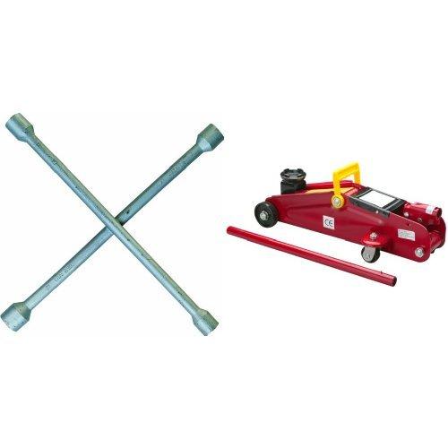 Cartrend 50152 Radkreuzschlüssel silber , Schlüsselweiten 17, 19, 21 und 23 mm und Unitec 10008 Hydraulischer Rangierwagenheber 2,0 to.