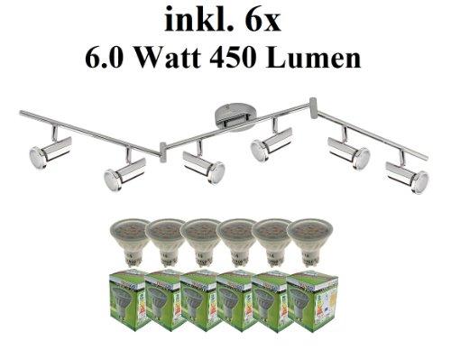 Trango 6-flg. Deckenleuchte Deckenstrahler Deckenspots inkl. 6x LED GU10 Leuchtmittel - 3000K Warm-Weiß TG2000-068-6W
