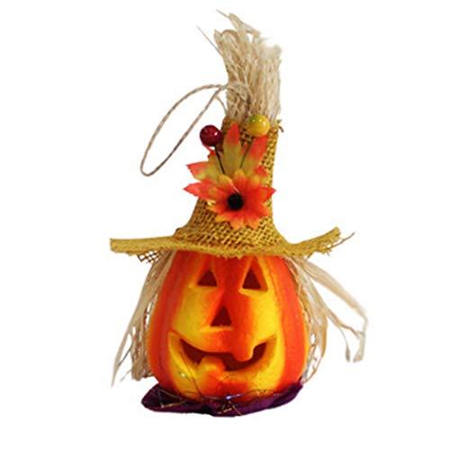 Netter Halloween-Light Up Jack Kürbis Flashing Laterne Dekorative Foam Halloween Props Große Geisterhaus-Halloween-Dekoration (Yellow Hat)