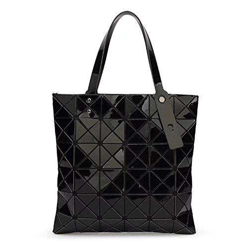 Plaid misto Laomu ologramma geometriche donne split spalla borsetta Sky-Blue Black