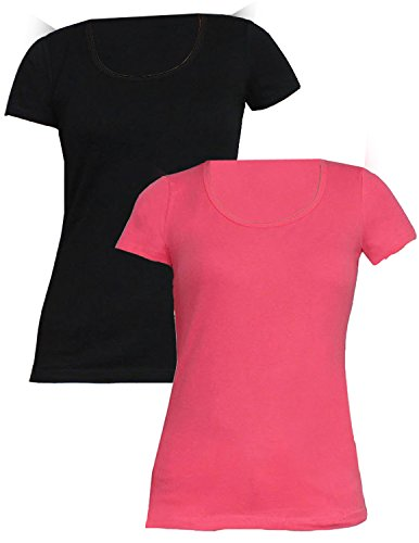(Pack of 2) Damen Designer Brand Short Sleeve-Sommer-beiläufige T-Shirt rosa & schwarz