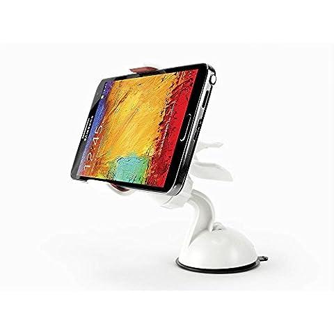 Cruscotto/parabrezza auto a ventosa per HTC Desire/One/728 ME E9 One/One M9/M8S One/One M9 One/One (M8)/(E8)/One/One (M8) per finestre, colore: bianco