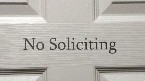 No Soliciting Vinyl Sign Decal Sticker For Home Buisness Door Window Lots Colors,, tool boxes, laptops, MacBook - virtually any hard, smooth surface ca. 20cm Aufkleber Autoaufkleber Wandtattoo -