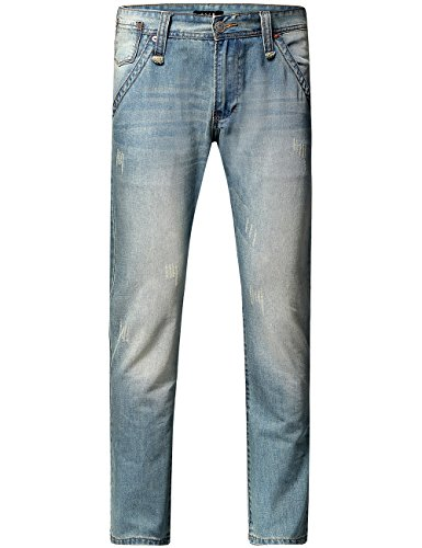 SSLR Jeans Homme Regular Fit en Coton Casual Bleu Clair