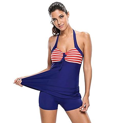 Erica Plage Taille Plus Halter One Piece Bikinis Swimdress Vintage Stripes Polka Dots Underwire Bra Padless maillot de bain femmes , #1 , xxxl