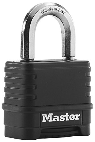 Image of Master Lock Excell high security anti-rust outdoor padlock with combination lock, 50mm brass finish zinc body