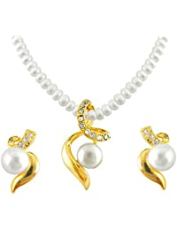 Sri Jagdamba Pearls Pearl White Pendant Necklace with Earrings Set for Women