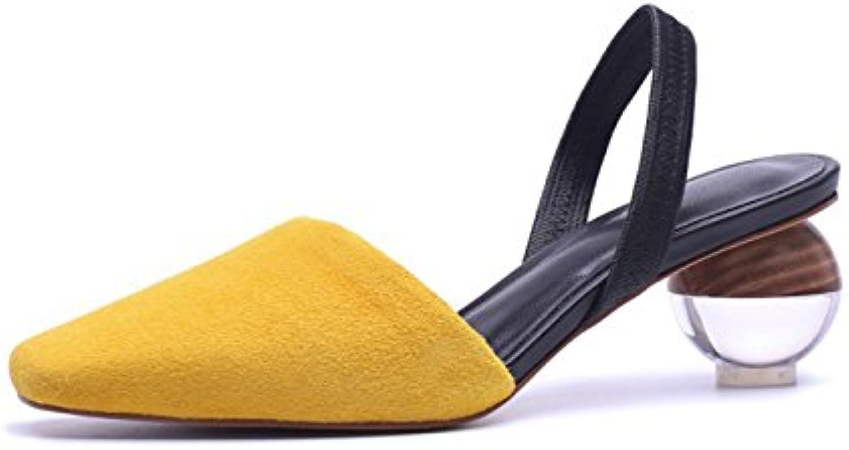 Zapatos de Mujer Summer Comfort Sandals Strange Creative Heel Señaló Dedo del pie para Exterior Blanco Amarillo