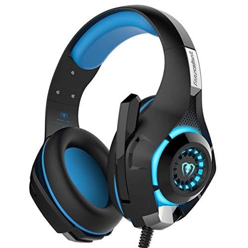 Beexcellent GM-1 Gaming-Headset, 3,5 mm, mit LED-Licht, Over-Ear-Kopfhörer mit Lautstärkeregler, Kopfhörer mit Mikrofon und Stummschaltung für PS4, Xbox One, MAC, PC blau blau