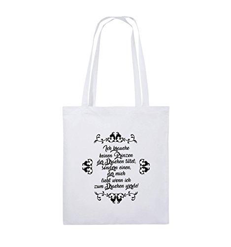 Comedy Bags - Ich brauchen keinen Prinzen der Drachen tötet - Jutebeutel - lange Henkel - 38x42cm - Farbe: Schwarz / Pink Weiss / Schwarz