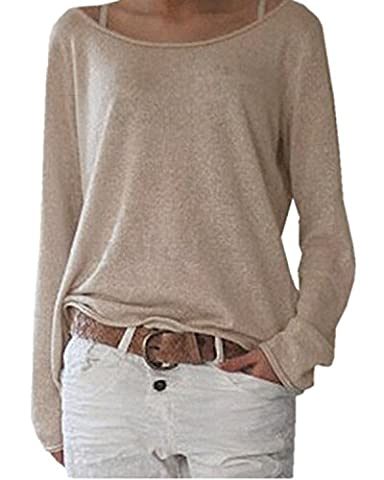 ZANZEA Women's Sexy Casual Autumn Loose Round Neck Long Sleeve Tops Blouse Jumper T-Shirt Beige L