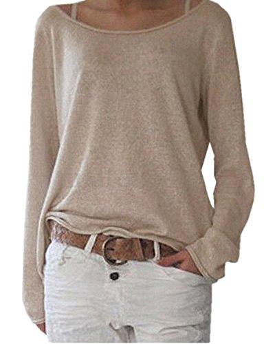 ZANZEA Damen Langarm Lose Bluse Hemd Shirt Oversize Sweatshirt Oberteil Tops Beige EU 44/Etikettgröße L