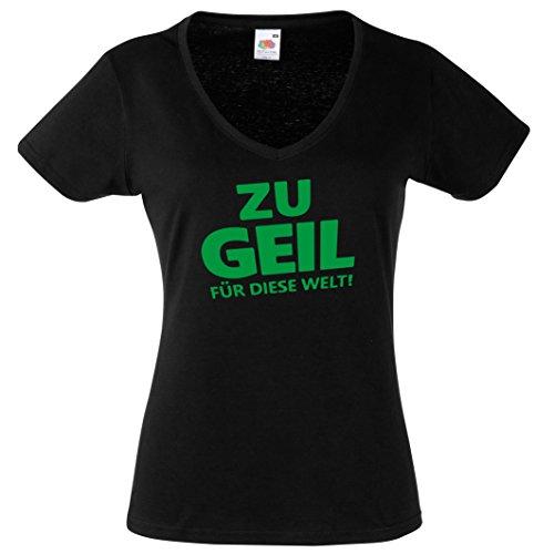Lustige Sprüche für Damen Shirt Damen V Ausschnitt T Shirt mit Sprüchen- ZU GEIL FÜR Diese Welt -Coole Frauensprüche Open Air Festival