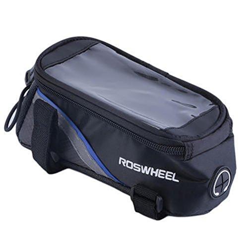 Radfahren Bike Fahrrad Rahmen Pannier vorne Tube Tasche Handy Halter blau