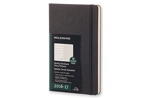 Moleskine Wochen Notizkalender, Taschenkalender, 18 Monate, 2016/2017, Groß, A5, Hard Cover, schwarz (Notebook-design Moleskine)