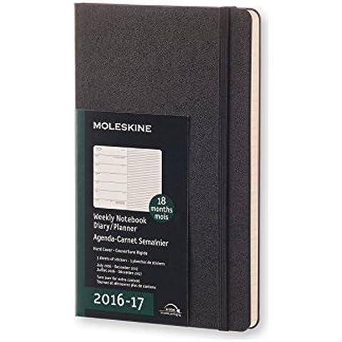 Moleskine DHB18WN3Y17 - Agenda semanal 18 meses, L 13 x 21, color negro