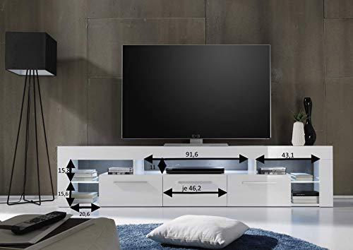 trendteam SC85201 TV-Möbel, Lowboard, Weiß Hochglanz - 4