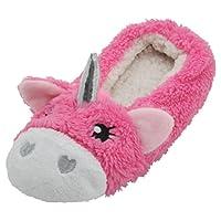Slumberzzz Ladies 3D Coral Fleece Unicorn Ballet Slippers Pink 5-6 UK