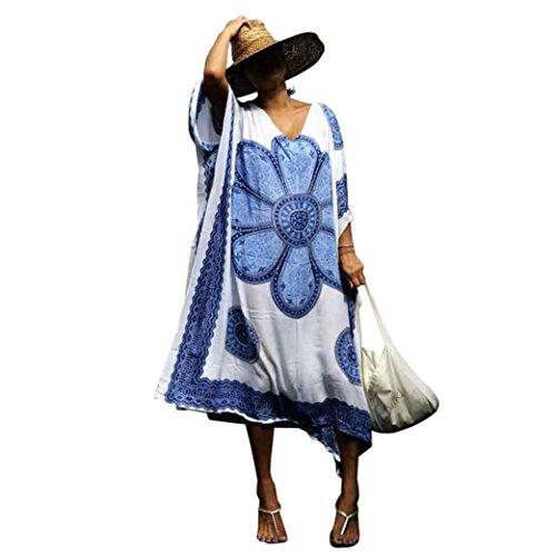 Frauen Badeanzüge vertuschen ethnische Tops VENMO Drucken Beach Maxikleid Badeanzug Smock Sehen Kimono Cardigan Exotische Vintage Boho Hippie Häkeln Kleid Bikini Bademode Vertuschen (Blue) (Elastische Taille Vertuschen)