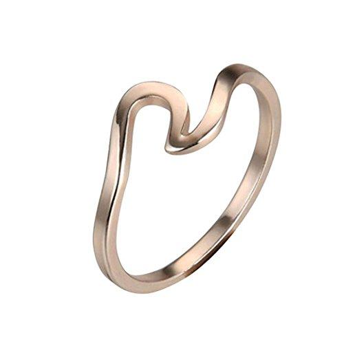 (Damen Verlobungsring Hochzeit Ringe Fashion Mingfa Lady Teen Mädchen Wave Ewigkeit Promise Ring Schmuck Geburtstag Party Geschenke, Legierung, Rose Gold, 6)