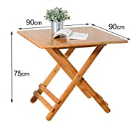 KISlink Bamboo Folding Table, Small Square Individual Table, Folding Square Solid Wood Table, Portable Household Table (Size: 90 * 90CM)