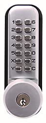 Sterling S2240SC Satin Chrome 14-Push Button Digital Door with Hold Back Function and Key Over-Ride