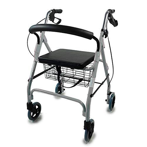 Mobiclinic Andador para Ancianos de 4 Ruedas | Rollator Deluxe Plegable | Regulable en Altura | Incluye Cesta | Elegante Color Gris | Peso máximo soportado 100 Kg | Modelo Alhambra