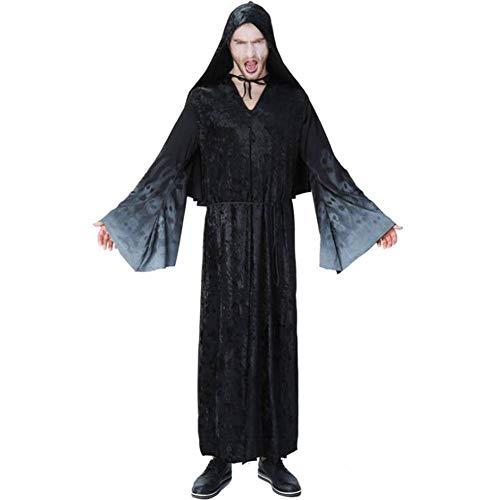 ASDF Männer Taro Print Hexenkostüm Schwarze Nacht Ghost Ghost Spielen Kostüm Cosplay Kostüm (Ghost Robe Kostüm)