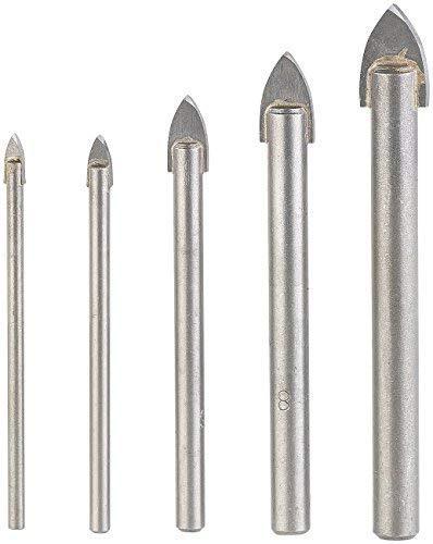 AGT Professional Glasbohrer: 5-teiliges Bohrer-Set für Glas & Fliesen, 4/5/6/8/10 mm, sandgestrahlt (Keramikbohrer)