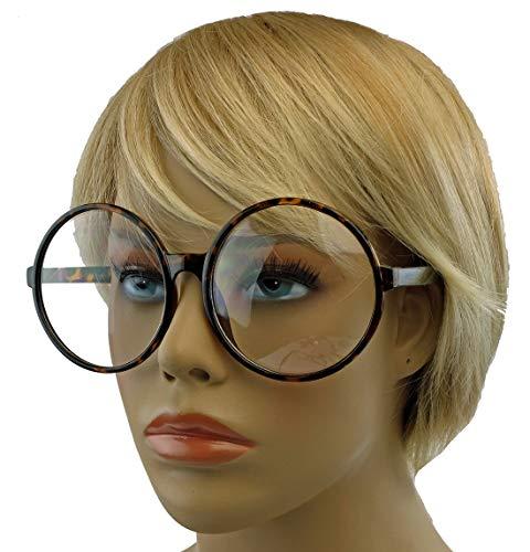 XL Fashion Brille große runde Nerdbrille im Lennon Style L33 (XXL Hornfarbig / 6.5cm hoch)