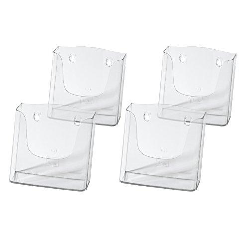 Sigel LH116/4 Wand-Prospekthalter für DIN A5, aus Acryl, transparent, 4er Pack - weitere Größen