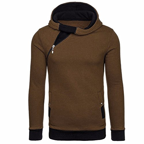 IMJONO Herrenkleidung Men es Autumn Winter Long Sleeve Zipper Hooded Sweatshirt Tops Blouse (X-Large,Braun) -