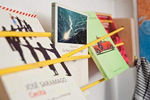 Mehrzweckregal aus Nussbaum und gelber elastischer Kordel von Ulap design - Made in Italy - Umweltfreundlich -