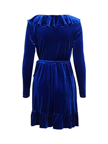 Simplee Apparel Femme Sexy Robe velours Col V Volant Mini Robe Vintage Automne Manches Longues Soirée Party Cocktail Clubwear Bleu
