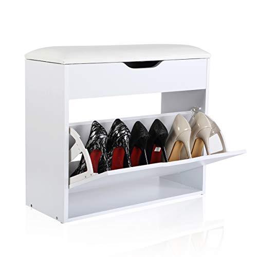 Happy home products portascarpe con cuscino panca scarpiera per entrata corridoio camerino(bianca, l60*w24*h55)
