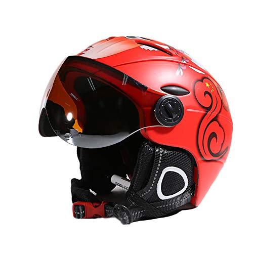 ZWL Erwachsener Skifahren Helm Schutzhelm Mit Brille Männer und Frauen Schutz Snowboard Helm Schutzausrüstung,Red - 525 Brillen