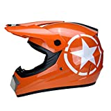 WZFC Crosshelm Motocross Enduro Downhill Helm Motorradhelm Integralhelm (Model-Pentagram),Orange,M