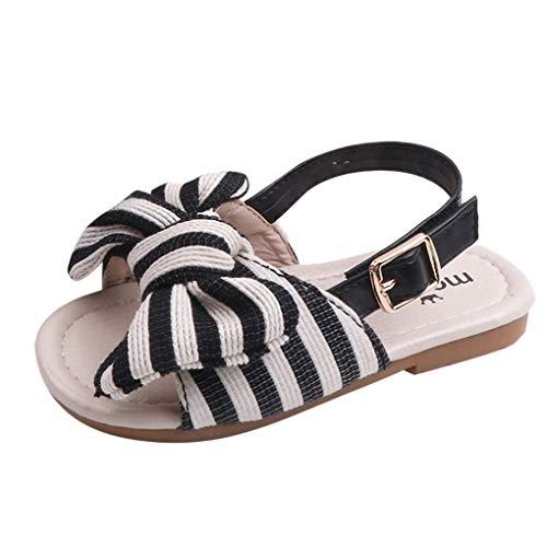 Dorical Baby Sandalen Striped Bowknot Sommer Kleinkind Babyschuhe Krabbelschuhe Pantoletten Hausschuhe Geschlossene Strand Sandale Schuhe Sommer 1-6 Jahre(Schwarz,4.5-5Jahre)