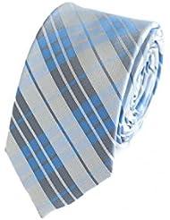 Schmale Krawatte von Fabio Farini kariert in blau grau