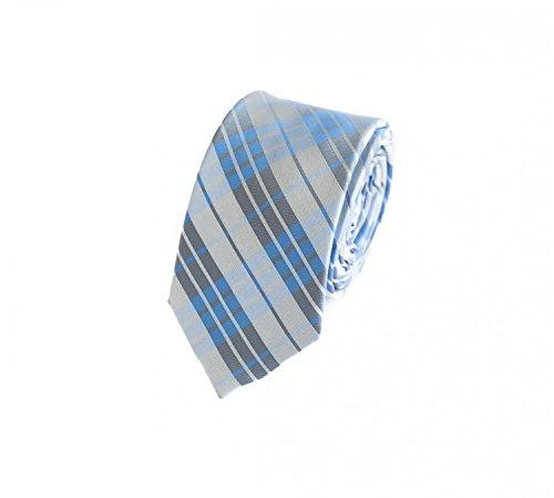 Seidenweiche Fabio Farini Krawatte 6 cm in verschiedenen Farben, Blau-Grau kariert