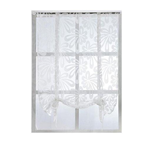 Sukisuki Floral Fenster Sheer Vorhang Panel Trennwand Fall kurz Vorhang Querbehang, Polyester, weiß, 100 x 160 cm