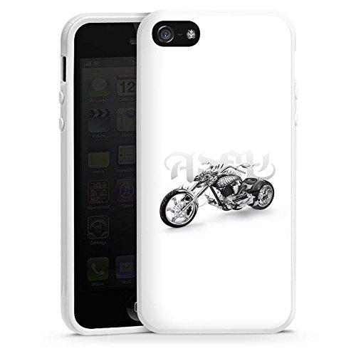 Apple iPhone 5s Housse étui coque protection Moto Housse en silicone blanc