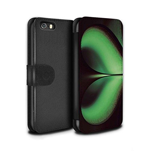 Stuff4 Coque/Etui/Housse Cuir PU Case/Cover pour Apple iPhone 5/5S / Rose Design / Amour/Coeur Infini Collection Vert