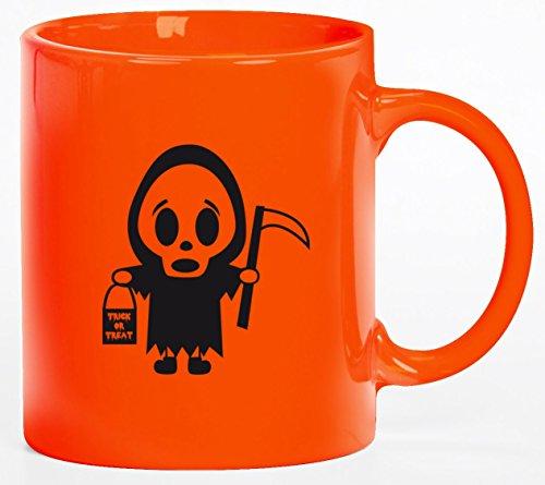 tüm Kaffeetasse Kaffeebecher mit Halloween - Sensenmännchen Motiv, Größe: onesize,orange (Tasse Kaffee Halloween Kostüme)